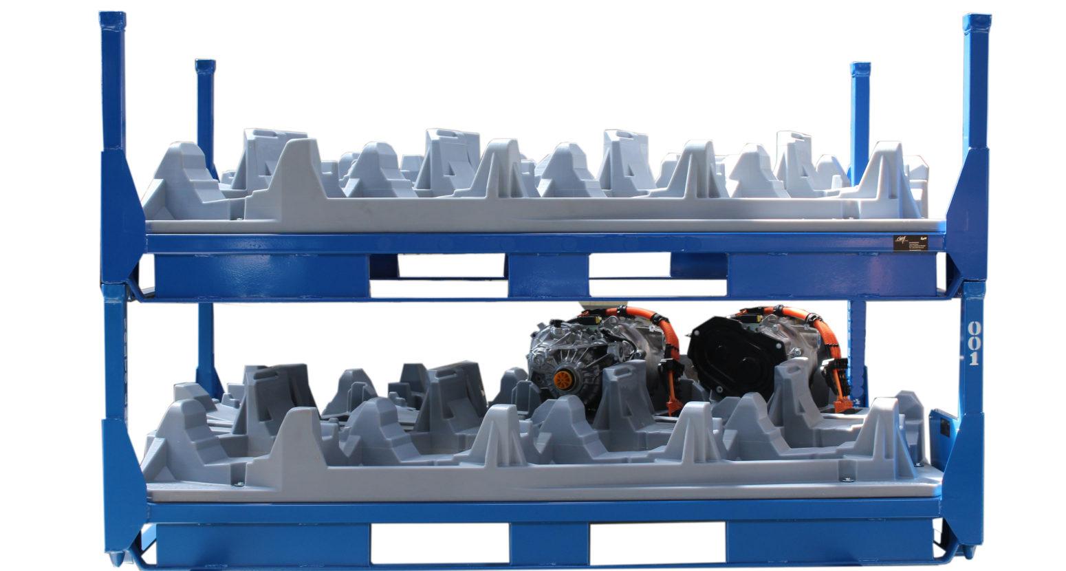 Conteneur pour batteries sur support rotomoulé